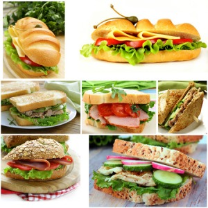 34217399 - collage of different sandwiches (ham and cheese, tuna and cucumber)